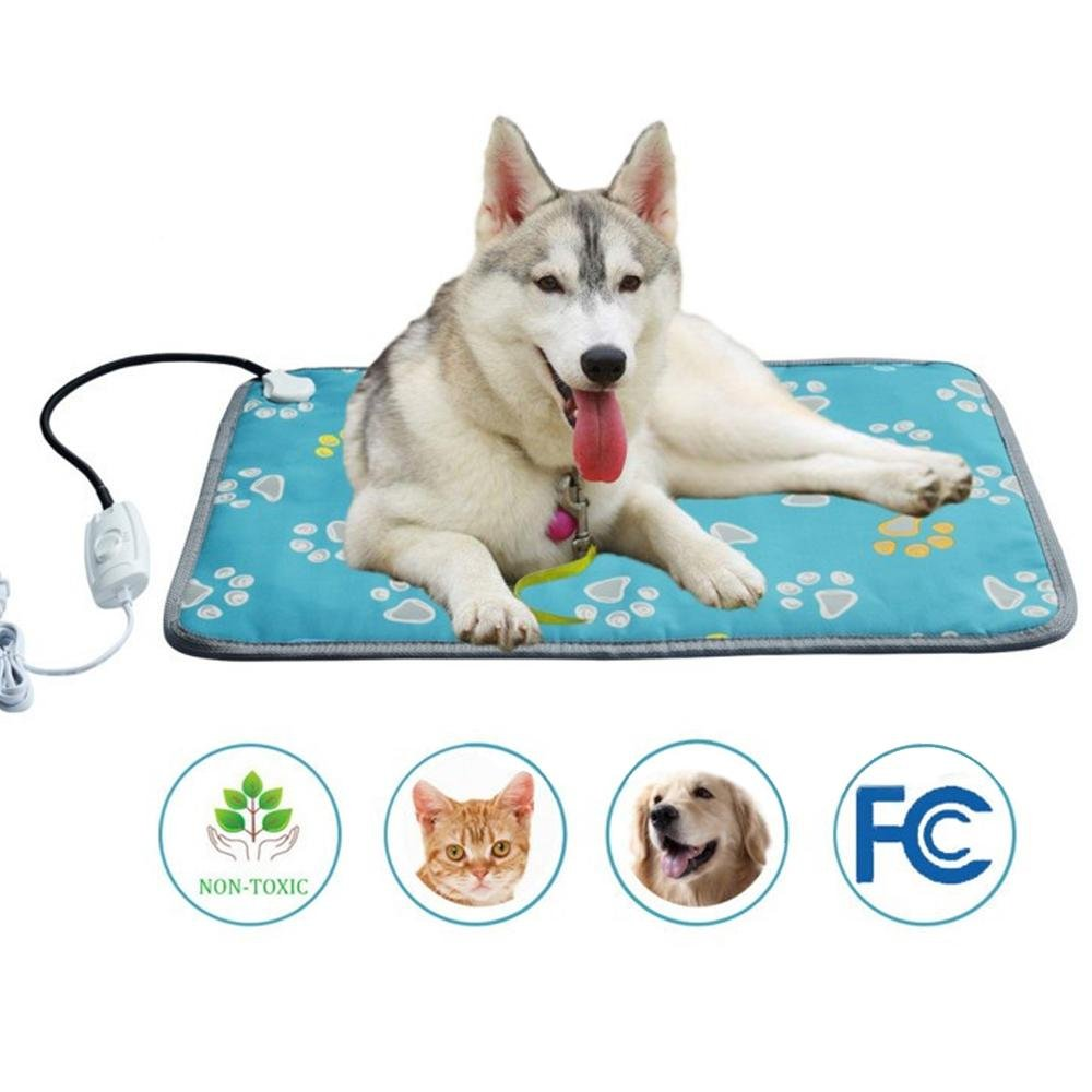 19.68X27.56inch Pet Heating Pad Large, Kobwa Indoor Electric Heat Dog Cat Pad with Temperature Controller, Waterproof Pet Heating Mat with Overheat Predection, Heater Warmer Mat Bed Blanket with Anti-chew Steel Cord