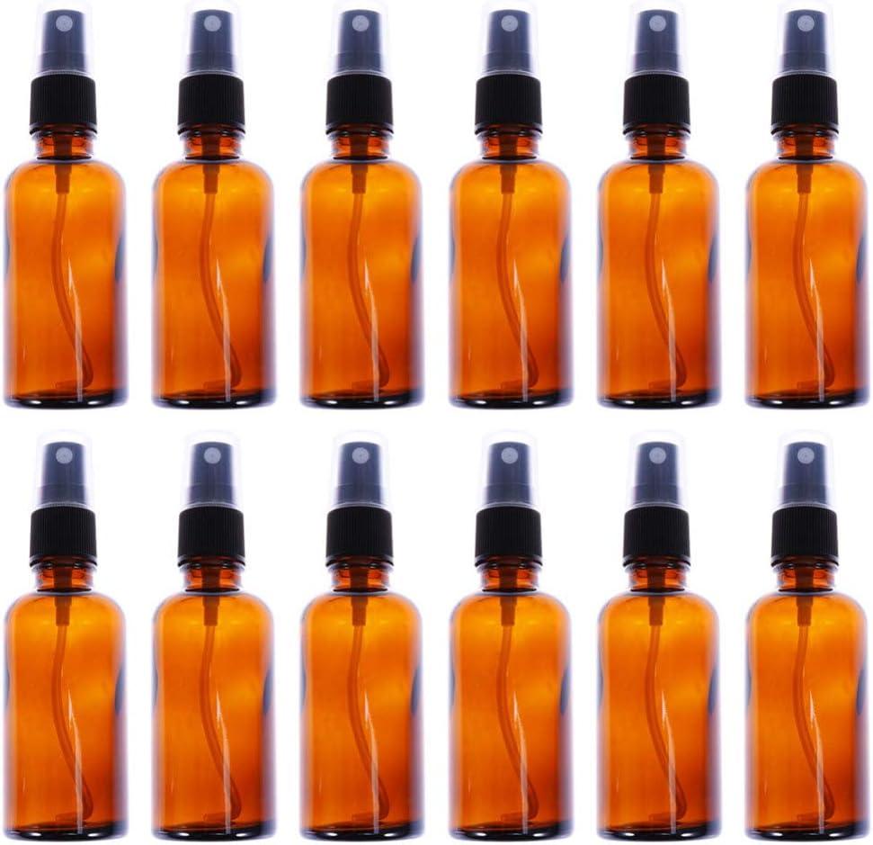 Lurrose 12 piezas 50 ml botellas de aerosol de vidrio ámbar pulverizador de niebla fina envases vacíos de maquillaje rellenables para perfumes cosméticos de viaje para el cuidado de la piel