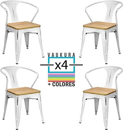 Vaukura Lot de 4 chaises Tolix avec accoudoirs – Chaise