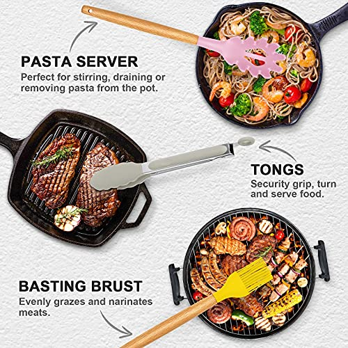 32 Pcs Silicone Cooking Utensils Set, CEKEE Heat Resistant Silicone Kitchen Utensil Set with Holder, Non-Stick Wooden Handle Cookware, Turner Spatula Spoon Kitchen Gadgets BPA Free (Color)