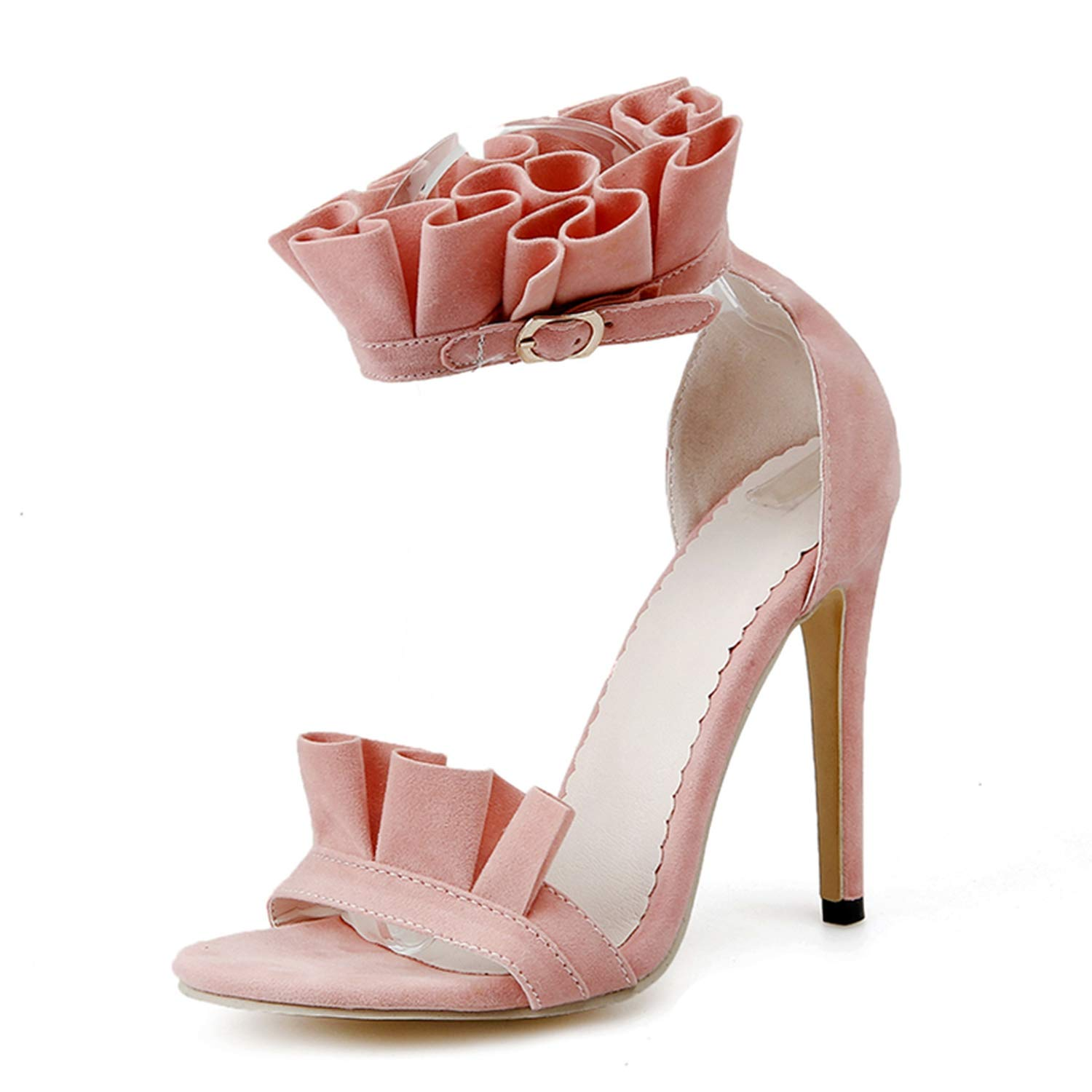 Pink Thin High Heel Sandals Women Sexy Ruffles Open Toe Buckle Strap Party Dress shoes Woman