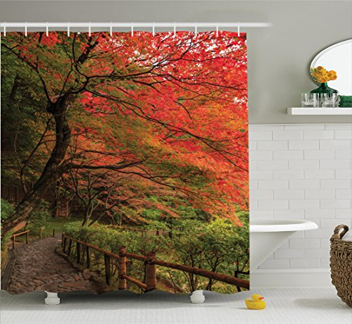 ecor Collection, Lace Canadian Maple Tree with Faded Autumn Leaves Tranquil Rainy Zen Path Session Photo, Polyester Fabric Bathroom Shower Curtain Set with Hooks, Red Green ()