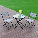 Portable Folding Round Bistro Table Chair Set Grey Outdoor Foldable Lightweight Durable Modern, Coffee Table Set, Practical, Patio, Backyard, Balcony Terrace, Garden, Poolside & e-book by jn.widetrade