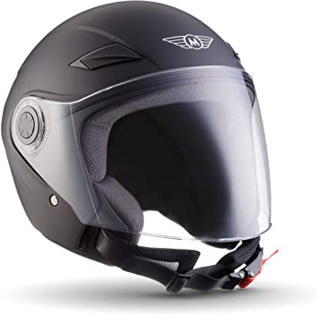 Moto Helmets U52 Matt Black Jet Helm Motorrad Helm Roller Helm Scooter Helm Bobber Mofa Helm Chopper Retro Cruiser Vintage Pilot Biker Helmet Ece Visier Schnellverschluss Tasche Xs 53 54cm Auto