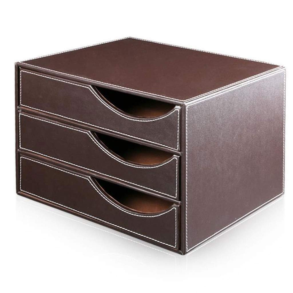 YCYG File Shelf Wooden - File Holder Racks, File Organi Desk Organiser, Drawer Desktop A4 File Cabinet Storage Cabinet Data Cabinet Leather Business Office Supplies (Color : Brown) (Color : A) by YCYG