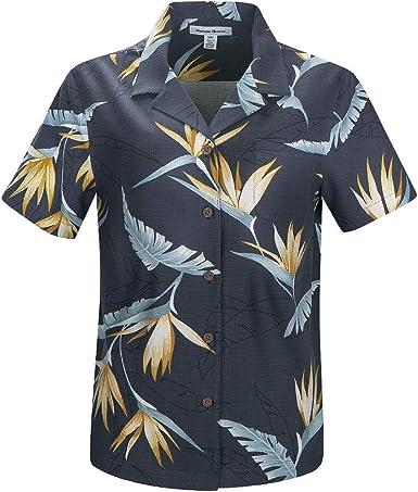 Havana Breeze Women's 100% Silk Regular-Fit Hawaiian Shirt, Black Underpainting Green Leaf L