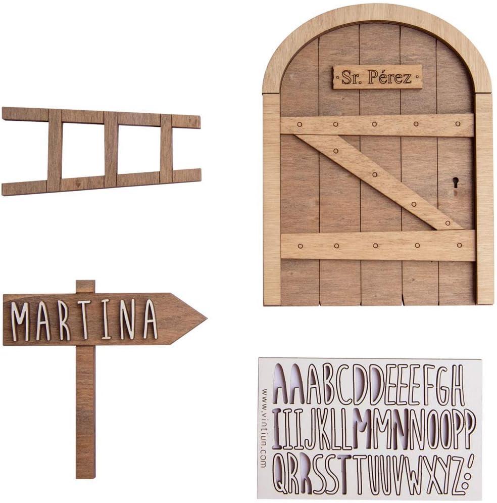 VINTIUN   Puerta Ratoncito Pérez de Madera   Puerta Mágica con Escalera y Cartel para Personalizar con el Nombre   Regalo Ideal Infantil de Madera
