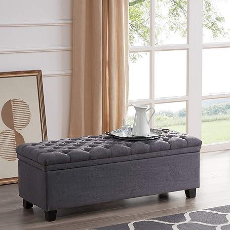 Astounding Belleze 48 Rectangular Hinged Lid Lift Top Laguna Button Tufted Fabric Storage Ottoman Bench Grey Uwap Interior Chair Design Uwaporg