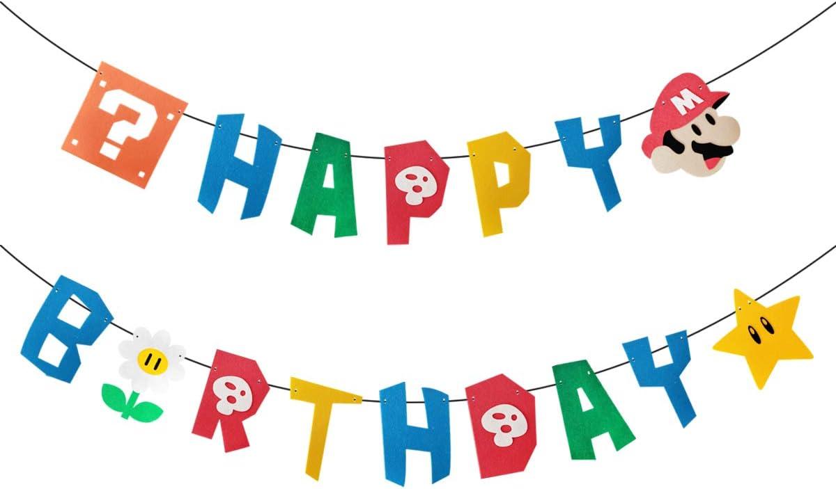 x2 Personalised Birthday Banner Super Mario Children Kids Party Decoration 16