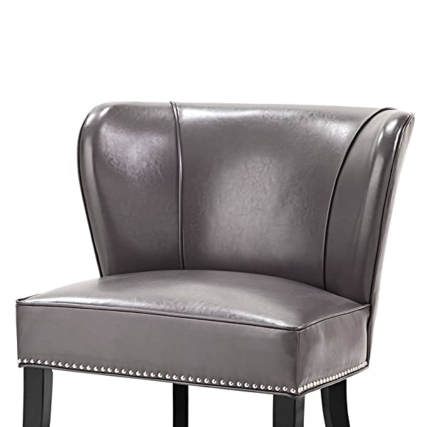 Madison Park Hilton Wingback Faux Leather Accent Chair, Gray