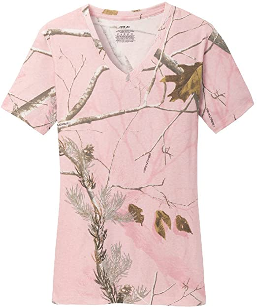 8af08c78 Ladies Realtree Camo 100% Cotton V-Neck T-Shirts in XS-3XL at Amazon Women's  Clothing store: