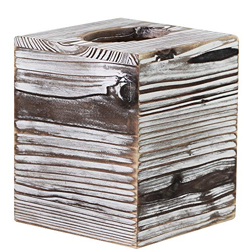 Supla Wood Tissue Box Cover Square Rustic Torched Barnwood Tissue Box Holder Bathroom Rustic Tissue Paper Holder Box Wooden Tissue Paper Dispenser Box with Slide-Out Bottom Panel 5.5
