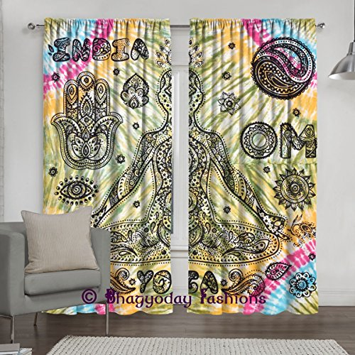 Indian Mandala Tie Dye Yoga Print Tapestry Door Window Curtain Drapes Panel, Balcony Room Decor Curtain Boho Set