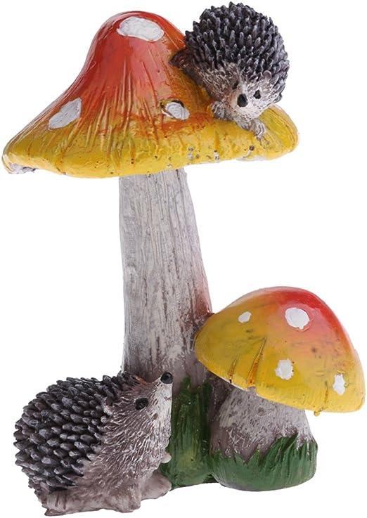 Ornamento de Patio Miniaturas de Setas Frontones Decorativos Casa de Muñecas - Erizo Naranja Seta: Amazon.es: Jardín