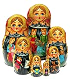 Two Sisters 7 Piece Russian Babushka Nesting Doll in Doll Stacking Babushka Toy. Signed by Artist Original Work of Art