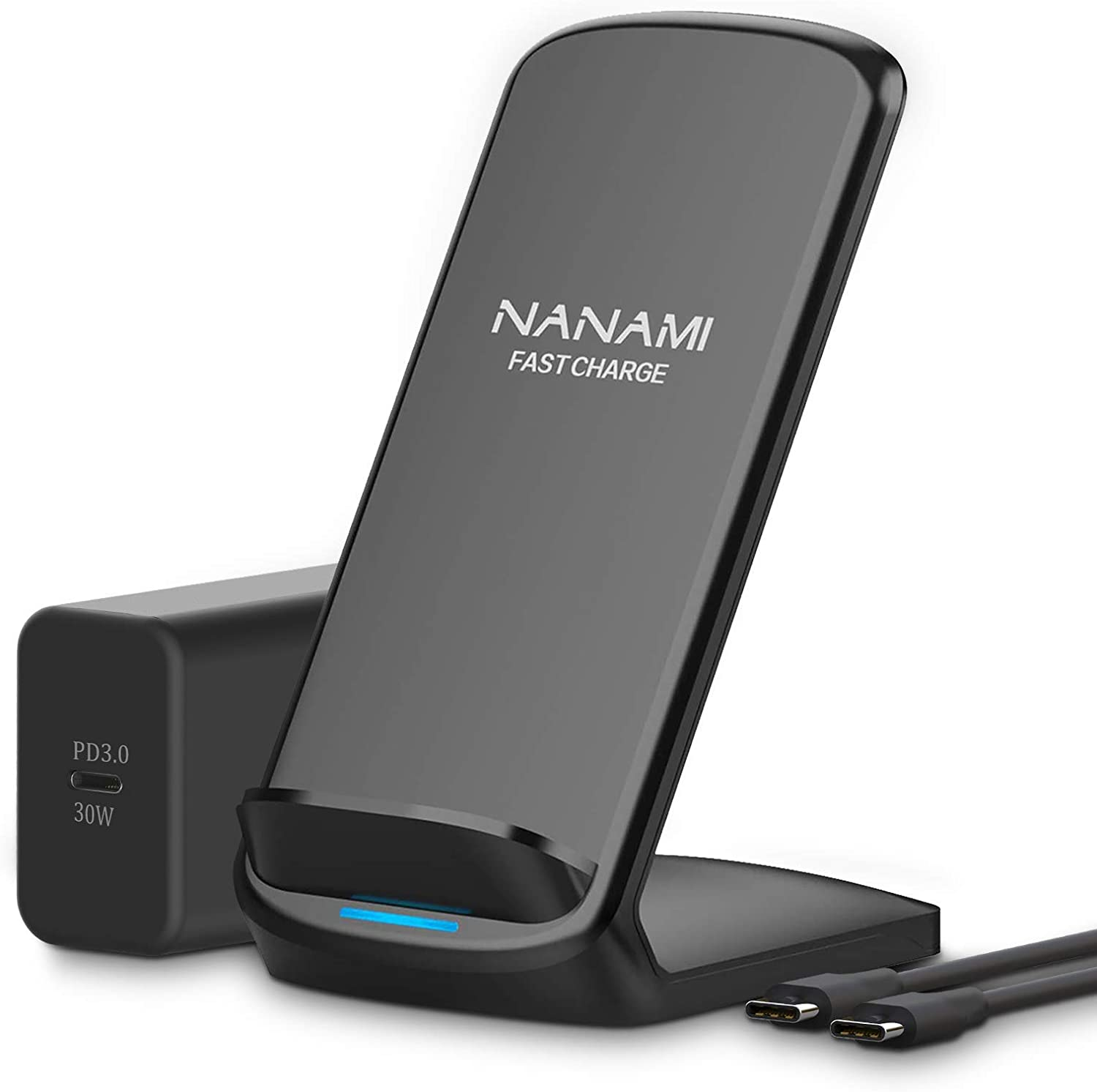 NANAMI Upgraded Wireless Charger with 30W USB C Power Adapter, Fast Charging Stand 7.5W Compatible iPhone 12/SE 2/11 Pro/XS Max/XR/X/8 Plus,10W for Samsung Galaxy S20/S10/S9/S8+/Note 20/10/9/8