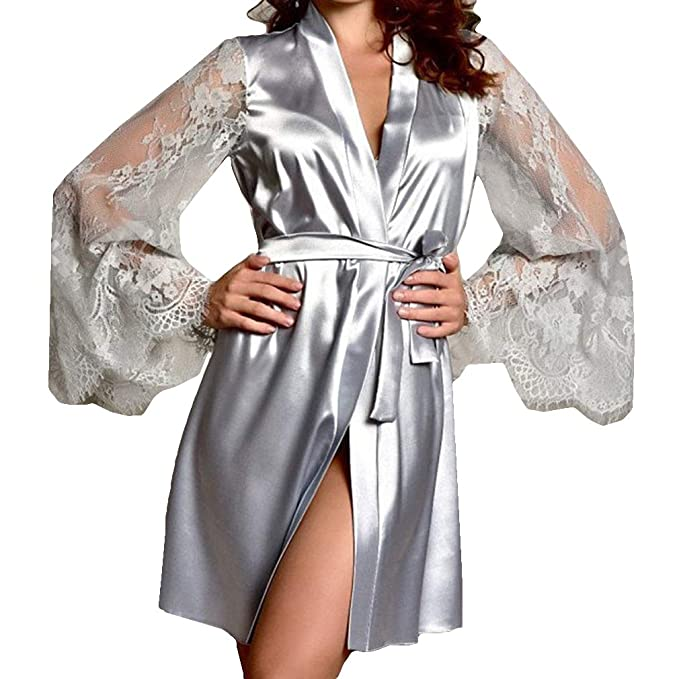 Juleya Mujeres Corto Satén Novia Bata Sexy Llamarada Vestido de Novia de Manga Larga Bata de Seda Kimono Albornoz Dama de Honor Ropa de Dormir: Amazon.es: ...