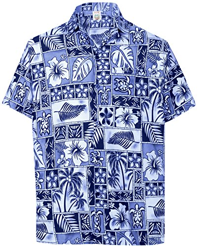 La Leela Aloha Hawaiian Tropical Beach Solid Plain Mens Casual Short Sleeves Button Down Tropical Shirts XL Blue (Camp Silk Shirt Printed)