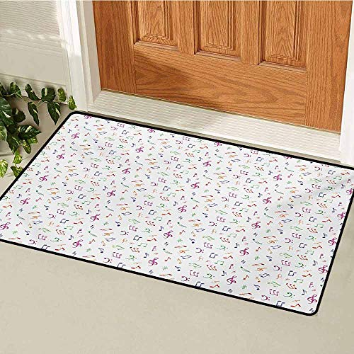 (GUUVOR Music Front Door mat Carpet Watercolor Icons Sonic Beats Vocals Dynamic Cultural Activity Concert Harmony Artwork Machine Washable Door mat W23.6 x L35.4 Inch Multicolor)