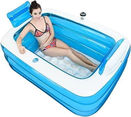 Bañeras con Jacuzzi Hinchable Baño Doble Adulto Lavabo Doble Barril de baño baño Infantil de plástico (Color : Blue, Size : 165cm/65inch)