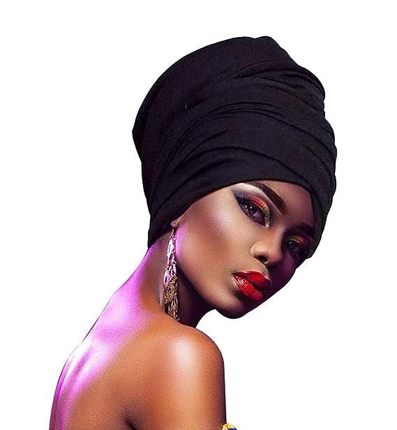 ZAKIA Soft Stretch Headband Head Wrap Long Head Scarf Turban Tie For Women (Black)