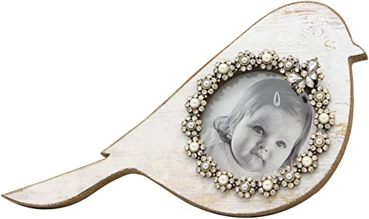NIKKY HOME Vintage Pewter Bird Picture Frame for Baby 3.5 x 3.5 Inch