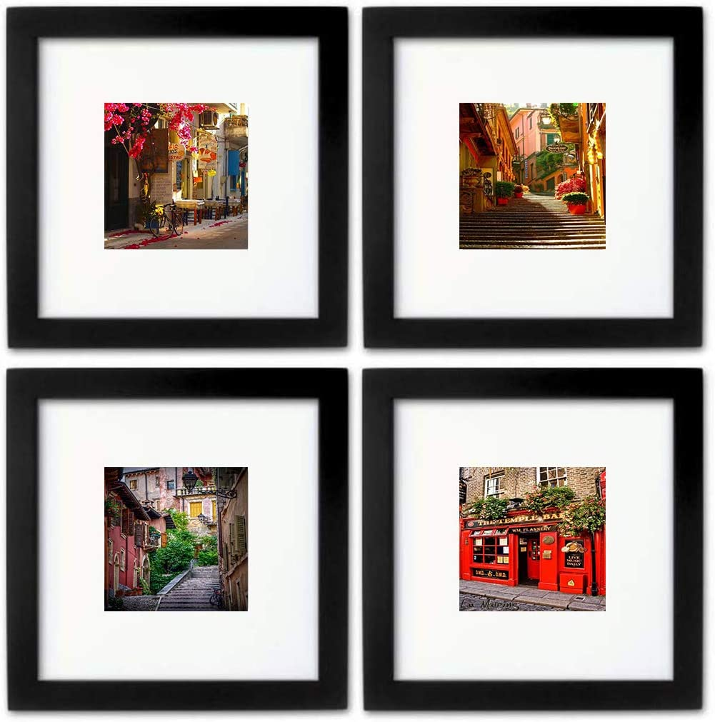 WOOD MEETS COLOR 8x8 Picture Frames Set, Mat for 4x4 Photo, Wall Gallery Collage Frames (4-8x8)