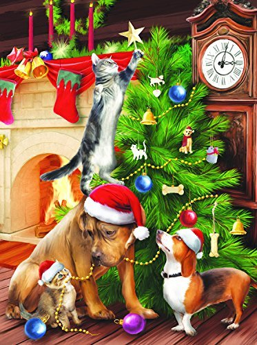 SunsOut Tree Trimmers Christmas Theme Cats and Dogs Puzzle 1000 Pc Jigsaw Puzzle (Dog Mantle Clock)