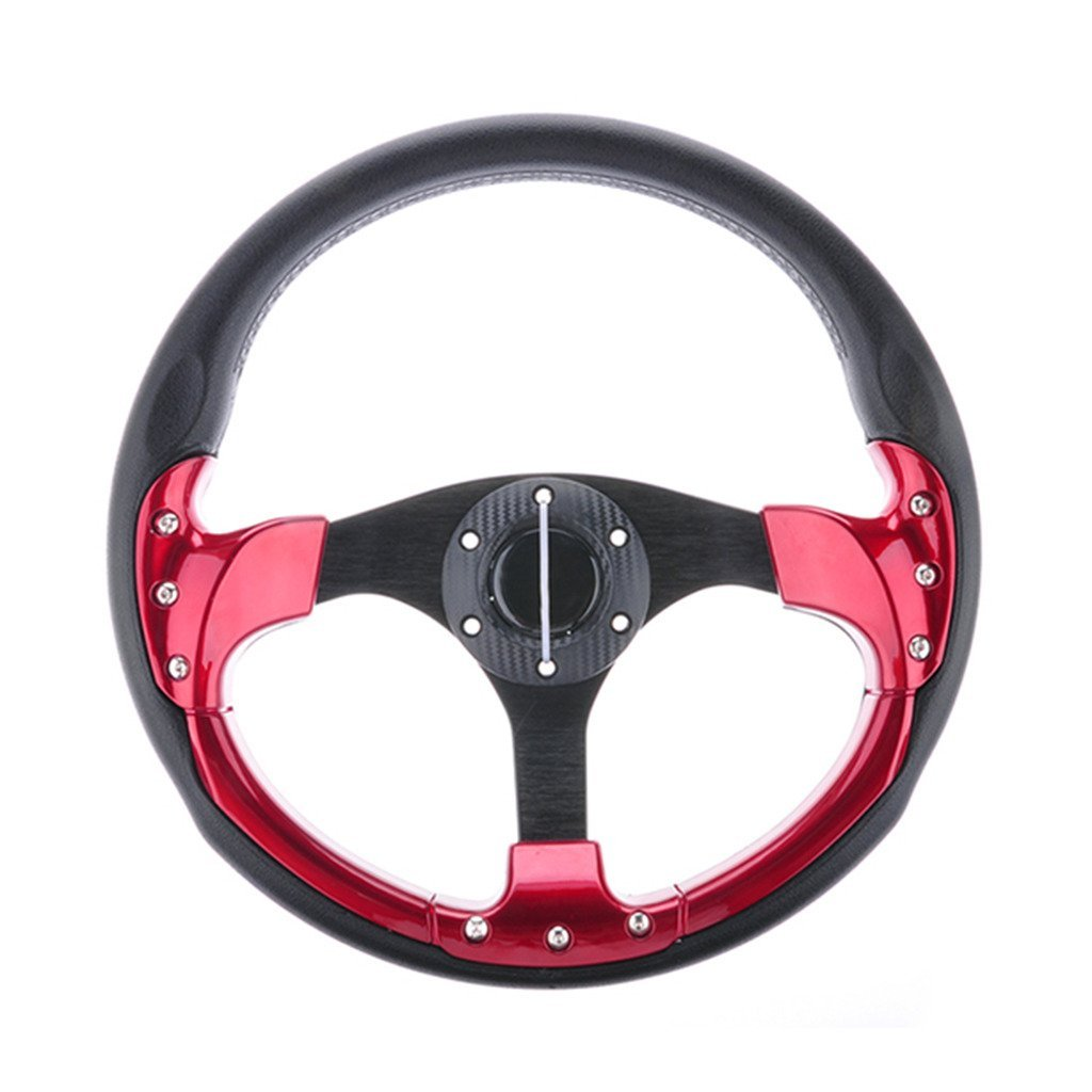 Wotefusi Car New 14' inch 350mm Aluminum Sport Race Racing Steering Wheel With Horn Button PU Wine Red Black PU 6 Holes/Bolts