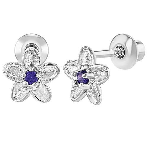 94ac2e2650aa In Season Jewelry - Chapado en Rodio Flor Circonita Morado Aretes con Cierre  de Rosca para Niñas  Amazon.es  Joyería