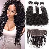 GRACE PLUS Brazilian Curly Hair Bundles with Lace Frontal Closure 100% Unprocessed Brazilian Curly Weave 3 Bundles with Frontal,Human Hair Extensions Natural Color (12 12 12+10)