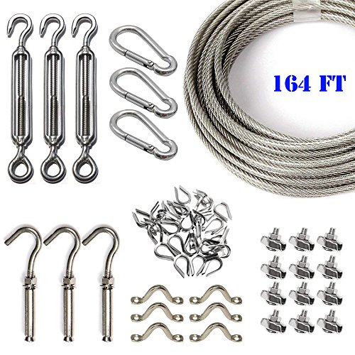Stainless Steel Globe Lights Kit, Outdoor String Light Suspension Kit, 164 FT Wire Rope Cable with Turnbuckle and Hooks
