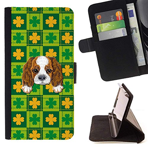 ([ Cavalier King Charles Spaniel] Embroidered Cute Dog Puppy Leather Wallet Case for LG V30 [ St Patrick's Day Pattern ])
