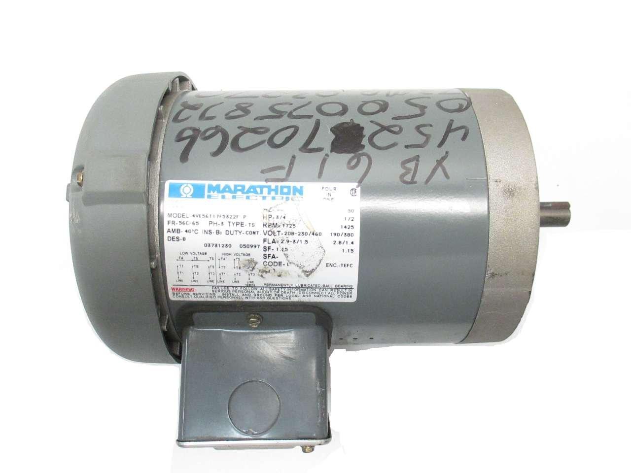 Marathon g582 56c frame general purpose motor 3 phase for Marathon inverter duty motor