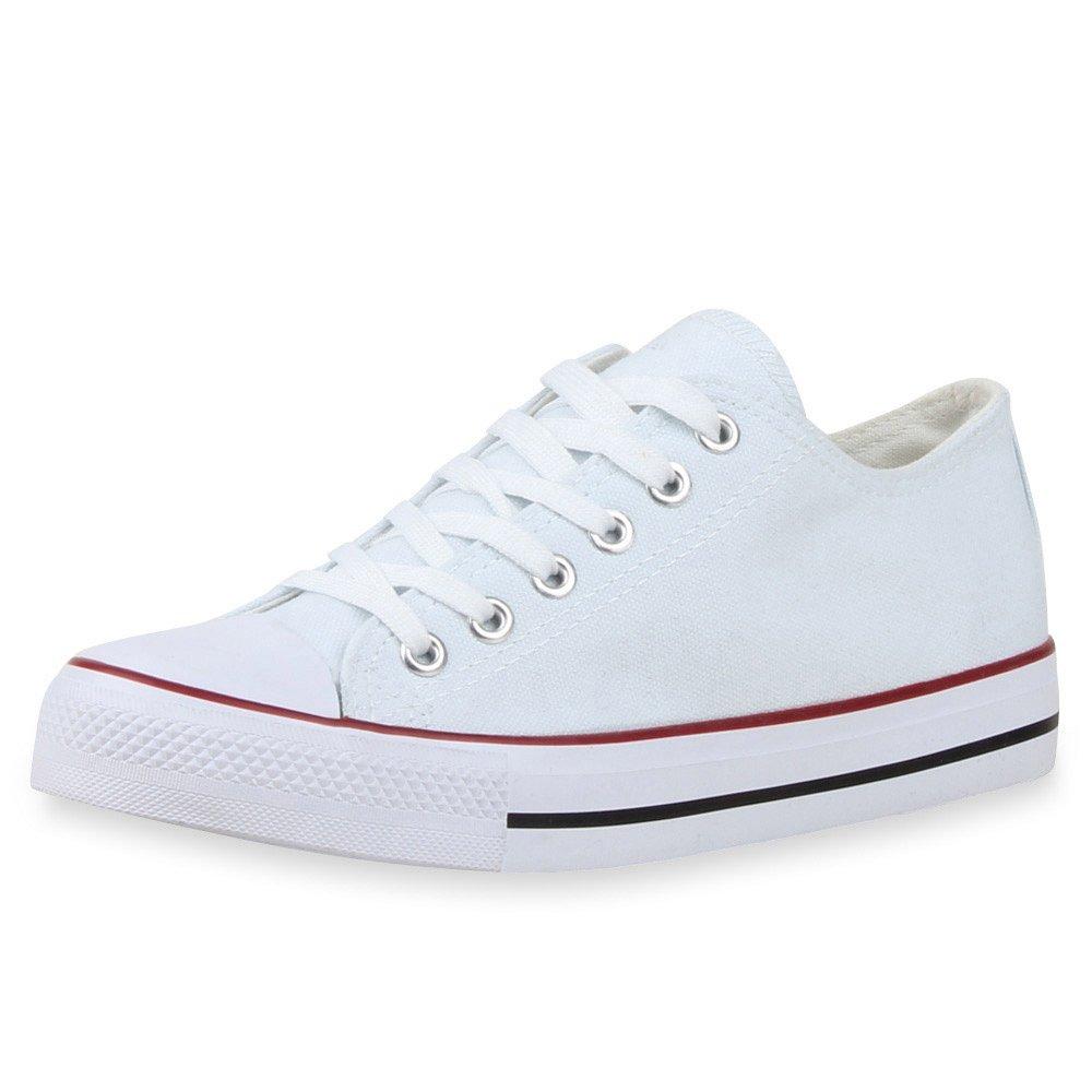 Japado Elegante Damen Sneakers Low Freizeit Glitzer Canvas Schuhe Turnschuhe Freizeit Low Gr. 36-41 Weißs Rot e209d0