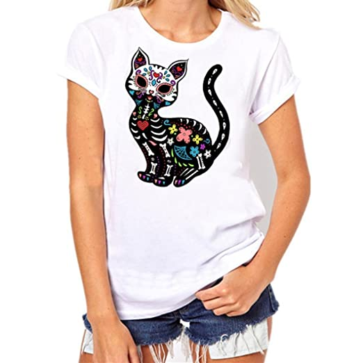 DondPO Womens Casual Short Sleeve T-Shirt Cute Animal Printed Tee Tops White Blouse Loose