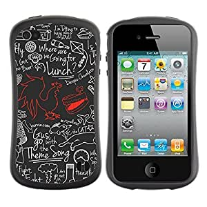 Hybrid Anti-Shock Bumper Case for Apple iPhone 4 4S / Cool Cock Retro pattern