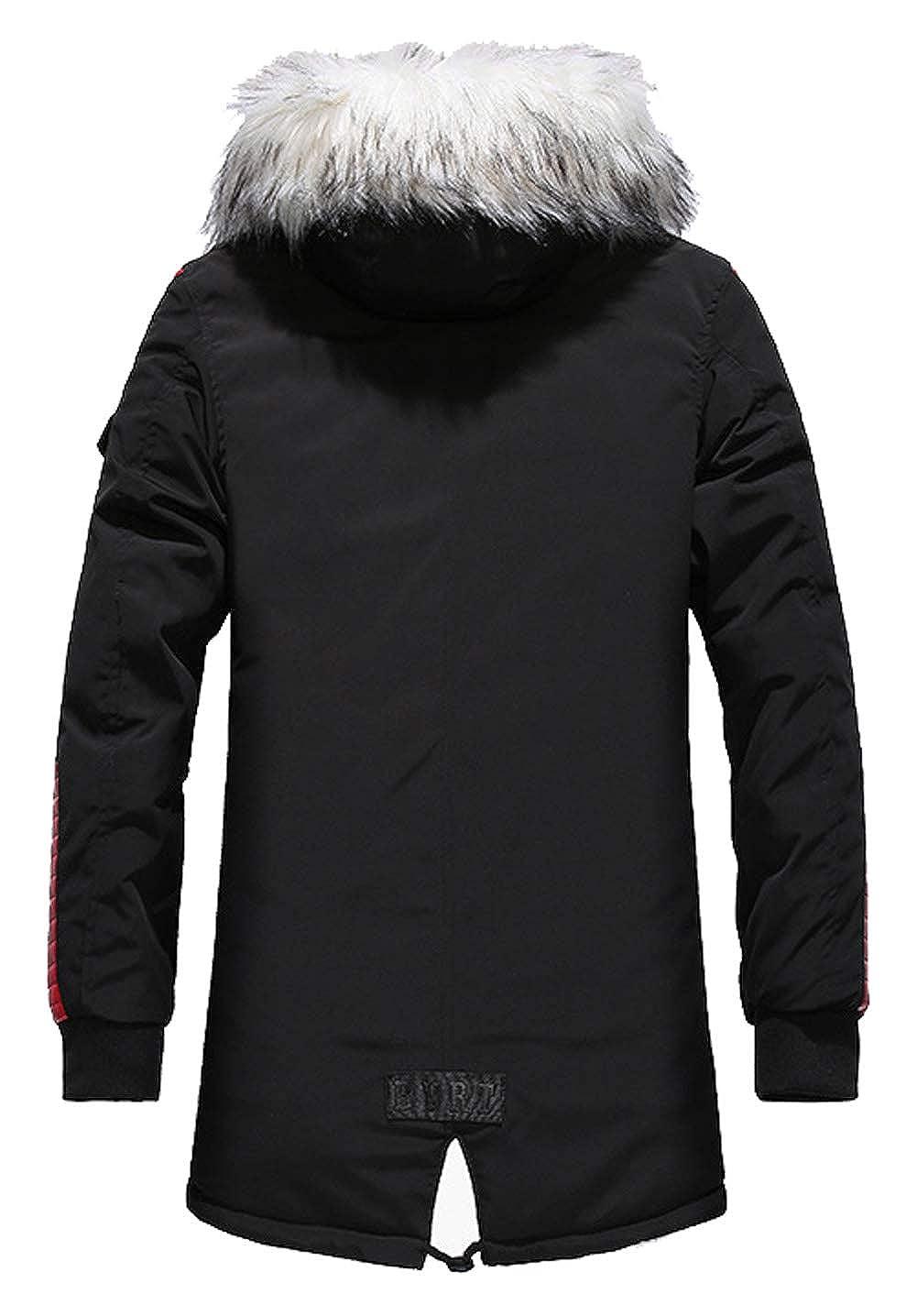 SSRSH Homme Veste à Capuche Hiver Manteau Multi-Poche Blouson Garçon Chaud Parka Veston Doudoune Manteaux Veste Capuche en Fourrure Amovible Blousons Style-2 Noir+rouge