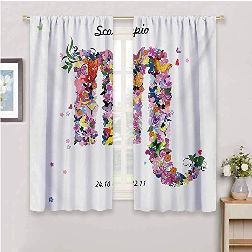 Shading Insulated Curtain Zodiac Scorpio Floral Spring Inspired Horoscope Sign Design with Butterflies Colorful Wings Home Decor Sliding Door Curtains W84 x L84 Inch Multicolor