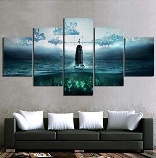 WOAIC Home Kitchen 5 Piece Hd Fantasy Art Steampunk Pictures Bioshock The Collection Video Game Poster Canvas Painting Wall Decor Size_2_with_Frame