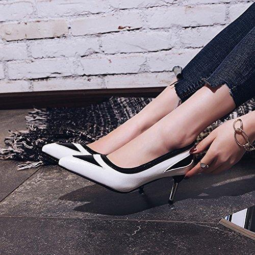 Carolbar Scarpe Da Donna A Punta Assortiti Colori Chic Scarpe Con Tacco A Spillo Scarpe Bianche
