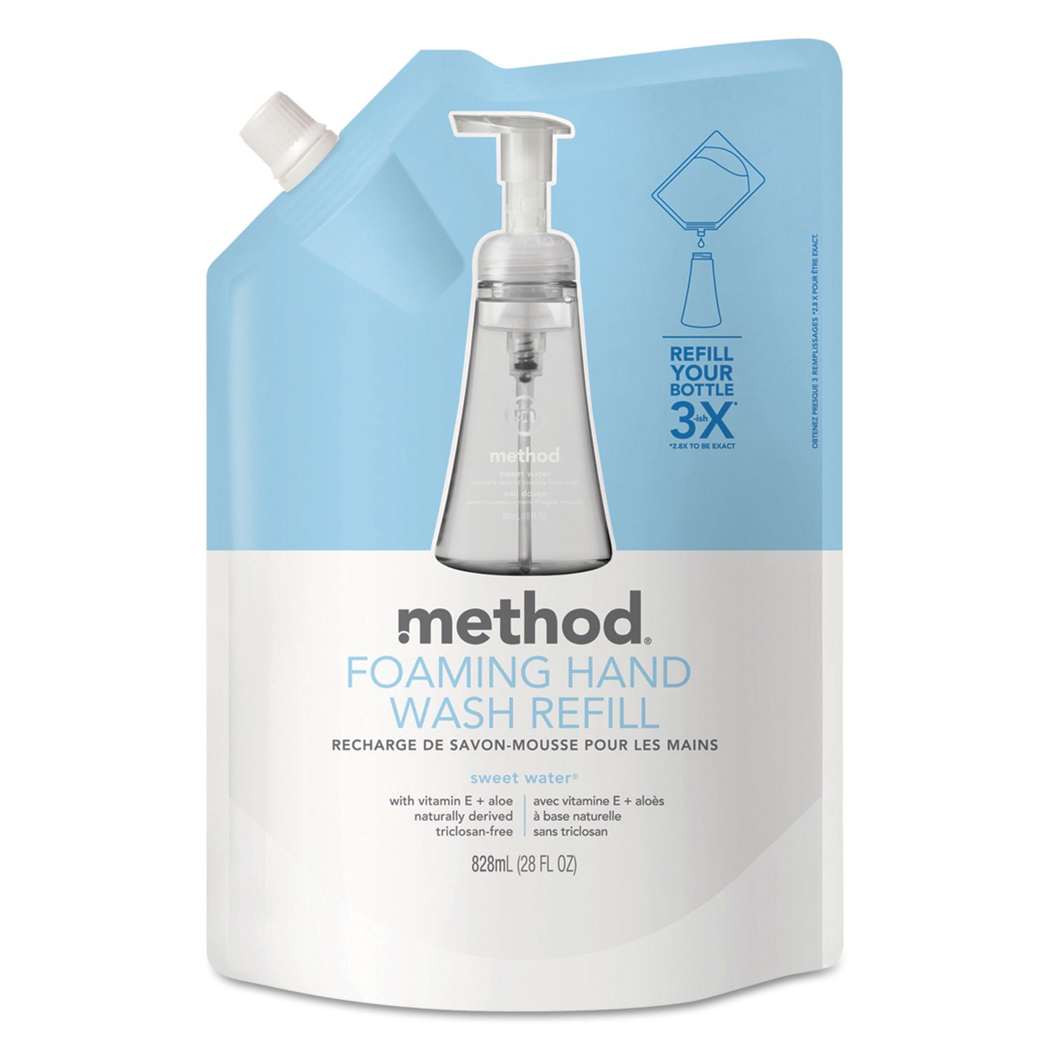 Method 00662 Foaming Hand Wash Refill, Sweet Water, 28 oz Pouch