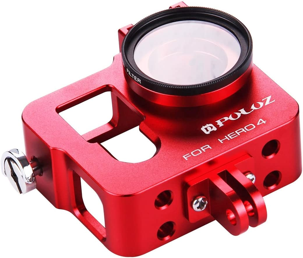 Color : Red CHENYANTUB Camera Accessories Housing Shell CNC Aluminum Alloy Protective Cage with 37mm UV Lens Filter /& Lens Cap for GoPro HERO4 Black