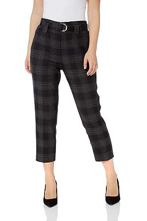 Roman Originals Femme Pantalon A Carreaux avec Ceinture - Automne Hiver  Slim Skinny Tailleur Bureau Classe Elegant Confort Stretch Ecossais   Amazon.fr  ... 05df395cc57