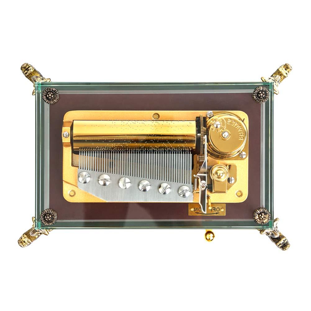 XCXDX Spieluhr Mit 50 Tönen, Mechanische Spieluhr Aus Transparentem Hartglas, Traditionelles Uhrwerk, Melodie des Schlosses Im Himmel