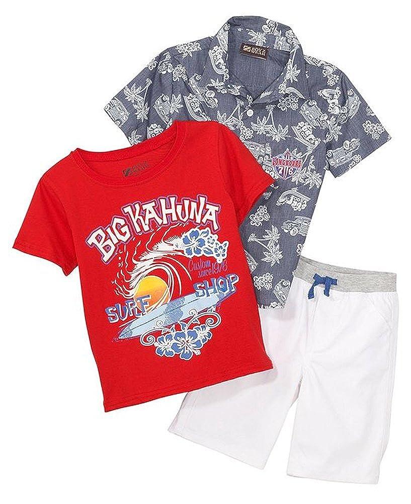 BoyzWear Toddler /& Little Boys 3-pc Button-Down Shirt Tee /& Shorts Set