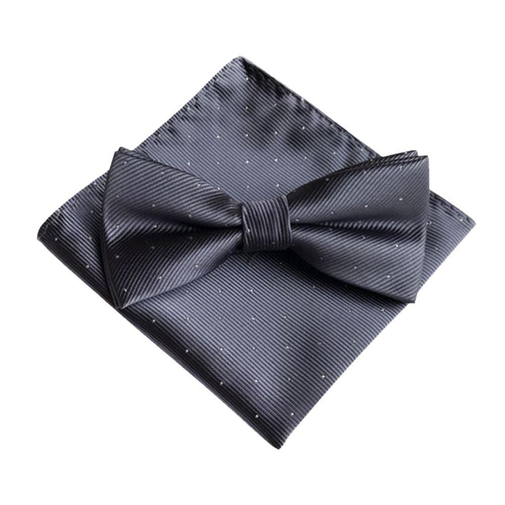 Forart Mens Womens Oversized Bow Tie Pocket Square Set Bowtie Hanky Set