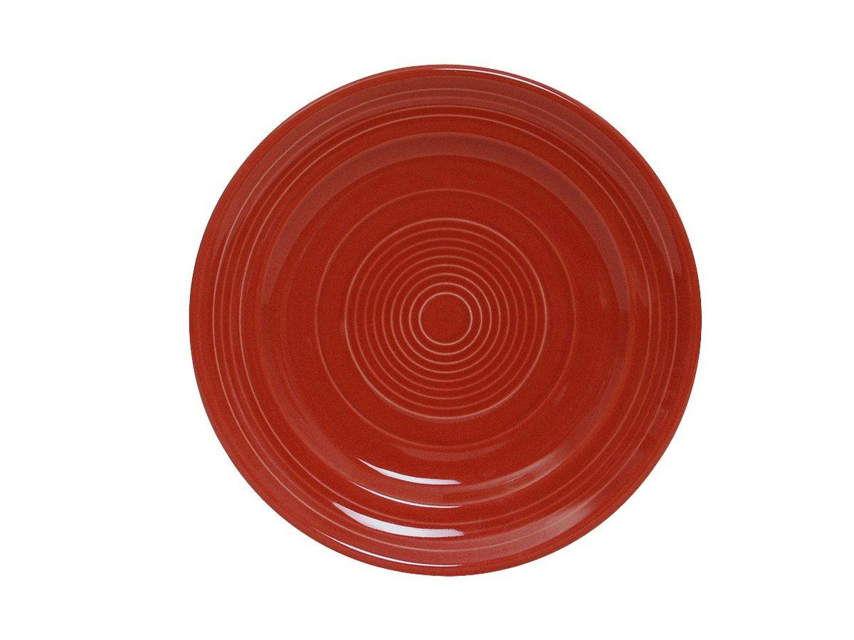 Tuxton CQA-090 Vitrified China Concentrix Plate, 9'', Cayenne (Pack of 24),