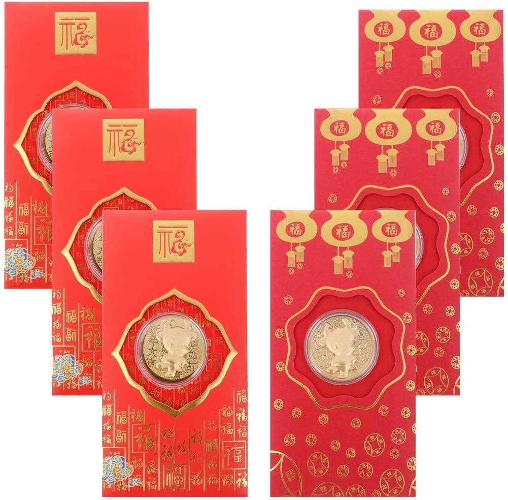 Acewen 6Pcs 2021 Year Ox Coins Red Envelope Coins Commemorative Coin Chinese New Year Coins Lucky Zodiac Gifts Souvenir Coin with Red Envelop