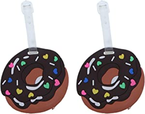 Fun Food Luggage Tags With Clear Strap Suitcase ID - Set of 2 (Brown Donut)